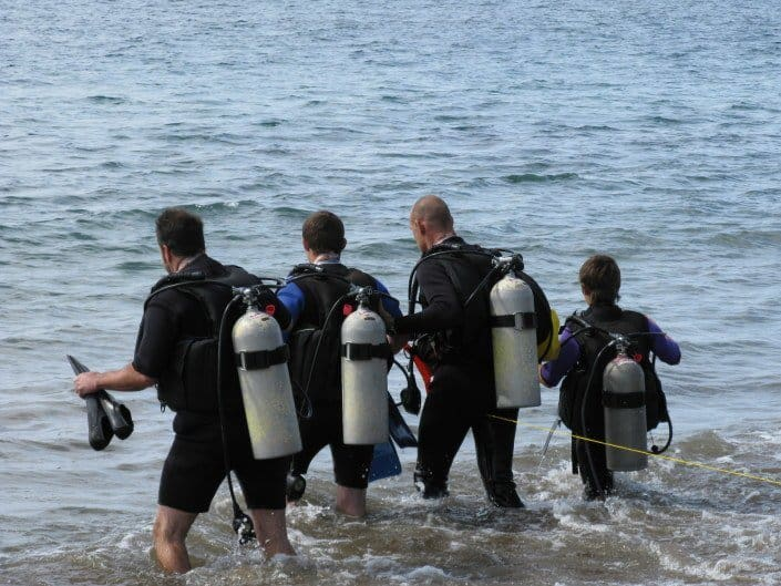 Mike taking group out for a shore dive
